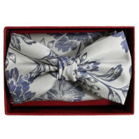 Silk Bow Tie And Hank Set - Floral
