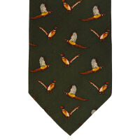 Pheasant Print Silk Tie