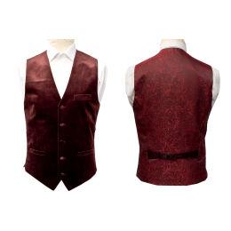 Velvet Patterned Back Slim Fit Waistcoat : 34 Inches